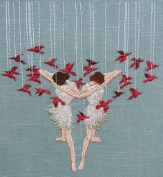 """Embroidery Stitches Miniature Embroideries Reveal The Inner Imagination Of Artist Michelle Kingdom - """"Figurative embroidery seemed tailor made for expressing secret thoughts. Embroidery Works, Cross Stitch Embroidery, Embroidery Patterns, Hand Embroidery, Bordados E Cia, Textiles, Fabric Art, Textile Art, Fiber Art"""