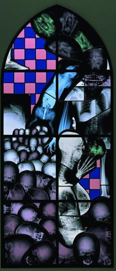 Sacred Space: Wim Delvoye, Chapel works, - maybe not Surreal, but finding an x-ray in a stained glass window is pretty freaky. Stained Glass Panels, Stained Glass Art, Mosaic Glass, Gothic Words, Glass Pumpkins, Call Art, December, Abstract, Painting