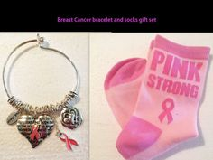 Breast Cancer Awareness Pink Ribbon Bangle Bracelet Pink Strong Socks Gift Set…