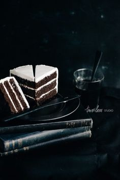 Two Loves Studio Black and White Food Photography Chocolate Cake
