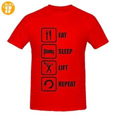 Eat Sleep Lift Repeat Funny Gym Graphic Men's T-Shirt Small (*Partner-Link)