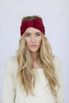 Cranberry Red Turband Headband Sparrow Headband Red Stretchy Jersey Hair Band Ruched with Fabric Wrap Women's hair bands
