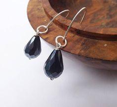 Black glass drop earrings glass earrings black earrings
