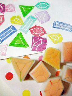 gemstones rubber stamps. hand carved rubber stamp - hand carved stamp  - diamonds/ruby/candy diamonds/jewels - set of 6
