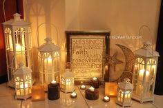 Ramadan Decorations. Ramadan Kareem! #candles #decorations #eid #moon #star #lanterns #rustic
