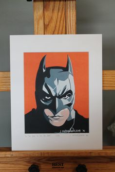 "11""x14"" Limited Edition Hand Signed Christian Bale Batman MATTED PRINT by JMatthewWelker.  Only 333 ""In The Year Of Our Bat 2005"" prints exist. Each print is hand signed and numbered by the artist.  Mat measures 11""x14"". Print measures 8""x10"". Mounted on 3/16"" foam core board.      Ready to pop right into an 11""x14"" frame! Batman Pop Art, Superhero Pop Art, Batman Painting, Ready To Pop, Christian Bale, Comic Movies, Dark Knight, The Darkest, Core"