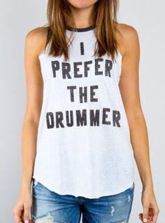 I Prefer The Drummer Raglan Tank - Junk Food Clothing