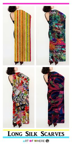 "Lovely Long Silk Scarves from Art Of Where!  These lovely scarves are Long (16"" x 72"")  with four fabric types to choose from (silk habotai, silk chiffon, silk charmeuse and poly chiffon)."