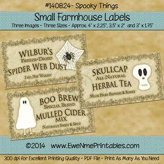 Farmhouse Labels - Spooky Things