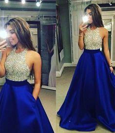 Ulass Charming Prom Dress Royal Blue Prom Dress Halter Sexy Prom Dress Beading Prom Dresses Long Evening Dress