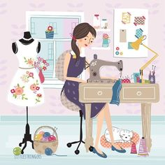 Nadel & Faden / Needle & Thread The Effective Pictures We Offer You About dessin croquis nez Sewing Art, Sewing Rooms, Love Sewing, Sewing Patterns, Sewing Studio, Cute Illustration, Needlework, Sewing Projects, Illustrations