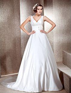 A-line V-neck Neckline Cathedral Train Satin Wedding Dress - USD $ 199.99