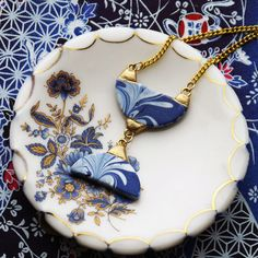 Blue & White Marbled Porcelain, Gold Necklace | Melanie Sherman | Ceramic Artist