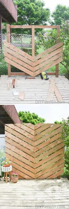 Inspire Your Outdoor with a Simple Chevron Privacy Wall. #outdoordiyprojects