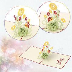 Fashion Design 3D Sunflower Pop up Card Birthday child Greeting Handmade Paper Art Carving High quality KT0124
