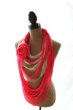 Fabric rag bib necklace, Boho chic scarf, Valentines Day Jewelry, shabby pink statement necklace, boho chic jewelry, women's jewelry. $50.00, via Etsy.
