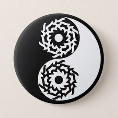 Yin and yang sign in black and white pinback button - black gifts unique cool diy customize personalize