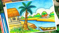 How To Draw Easy village scenery Drawing Step by Step Oil Pastel Drawings Easy, Oil Pastel Paintings, Oil Pastel Art, Easy Drawings, Beautiful Scenery Drawing, Easy Scenery Drawing, Beautiful Drawings, Nature Drawing For Kids, Art Drawings For Kids