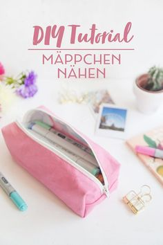 DIY Tutorial: sewing pencil case- DIY Tutorial: Stiftemäppchen nähen Sew the pencil case - Sewing Projects For Beginners, Knitting For Beginners, Diy Projects, Sewing Hacks, Sewing Tutorials, Sewing Tips, Sewing Crafts, Diy Crafts, Diy Trousse