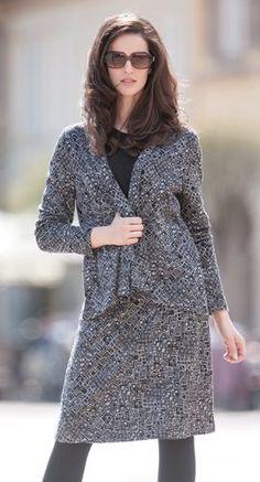 Bio Kleidung - Schalkragen-Jacke und Rock in Jacquard aus Bio Baumwolle mit Modal, Größen S bis XL - Finesse Fashion ©