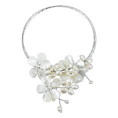 Multi Flower Mother of Pearl and Cultured Freshwater White Pearls Cluster Choker Wrap Handmade Necklace * For more information, visit image link.