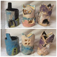 Kid's ceramic castles. Made by 3 and 5 year olds. Blog | Milanie Ceramics | Making and loving Ceramic Art… Student Work, Ceramic Art, Castles, Badge, Planters, Fairy, Pottery, Houses, Ceramics