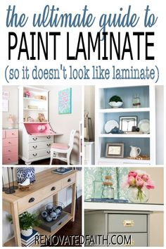 Whether you want to paint or 'stain' your furniture piece, this DIY tutorial and video will show you how to paint laminate furniture easily. By using the best bonding primer for shiny surfaces, I'll show you how to paint laminate furniture so you can't tell it's laminate and how to stain laminate furniture with paint. This easy tutorial can be used on dressers, shelves and desks to give them a distressed rustic farmhouse style or a modern contemporary feel. Painting Laminate Dresser, Refinishing Laminate Furniture, Can You Paint Laminate, Glazing Furniture, Diy Furniture Projects, Diy Projects, Outdoor Furniture, White Washed Furniture, Distressed Furniture