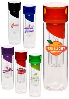 24 oz. Fruit Infusion Tumblers. These tumblers will give water a new meaning. Get them personalized with logos or graphic designs and use them as for promotional giveaways.