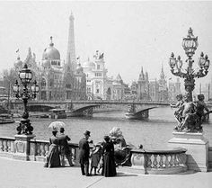 View from Pont Alexandre III in Paris,France during the World Fair in 1900.