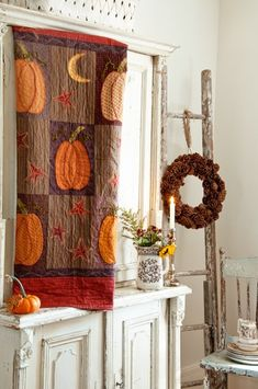 love the decorating--quilt from the Need'l Love book Pumpkin Patch