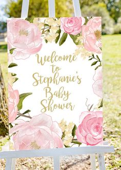 Baby shower welcome sign Welcome to baby por Papierscharmants