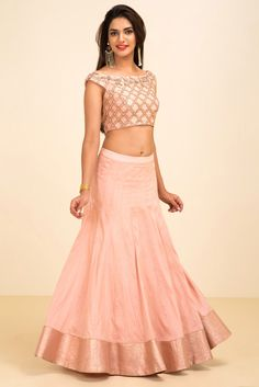 NISHA SHAINANI pink and gold floral embroidered croptop with skirt style lehenga