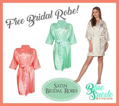 Monogrammed Bridesmaids Robes add a classic touch to your bridal party gifts!!! Our Satin Robes are perfect for getting ready time before the wedding! Order a set of 6 or more and your Brides Robe is FREE!  These robes are the perfect robes to have for your bridal party! They have are great to wear while getting ready on your special day. They are super adorable in pictures. You can get any combination of colors you like, for instance you can get a white for the bride and all the others the…