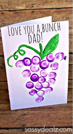 Creative Father's Day Cards for Kids to Make - grape thumbprint craft