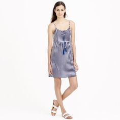Nwt J. Crew Striped Gauze Tassel Dress