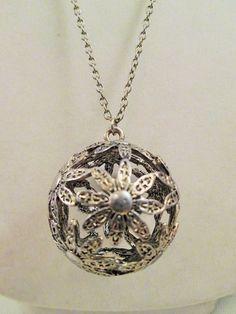 Silver Flower Ball Pendant Necklace Handmade 3D Sphere Boho Festival Jewelry #Unbranded #Pendant