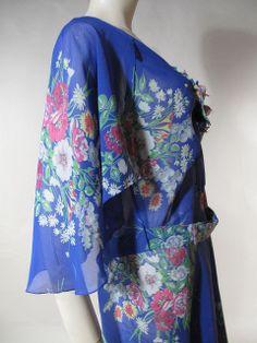 1930's cerulean blue floral silk chiffon bias cut evening dress