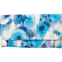 Guess Delaney Multi Clutch ($36) ❤ liked on Polyvore featuring bags, handbags, clutches, blue, blue handbags, blue purse, blue clutches, guess clutches and guess handbags