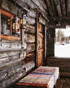 Beautiful rustic cabin porch