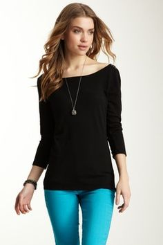 Natashya Essential Jersey Classic 3/4 Sleeve Button Top