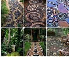 cool rock pathways - I love collecting rocks, now here's a way for me to use them!