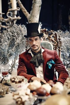 David Gandy at the 'Mad Hatter' in Marks and Spencer Christmas Advert 2013.