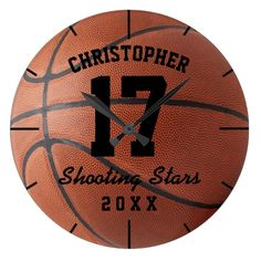 Personalized basketball wall clock with your custom name, jersey number, team name and year. Cool gift for basketball players, fans and coaches for men, women, boys, girls and teenagers.  Custom Basketball Sport Name Number Personalizable Large Clock  #clock #customized #personalized #basketball