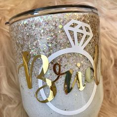 Excited to share this item from my shop: Bride glitter tumbler / engagement gift / bachelorette party tumbler / bride cup / bride glitter cup / wedding day cup / bride travel mug Diy Tumblers, Custom Tumblers, Glitter Tumblers, Glitter Water Bottles, Clear Tumblers, Insulated Tumblers, Mason Jar Crafts, Mason Jar Diy, Tumblr Cup