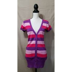 Poof Excellence Striped Purple Pink Sweater M