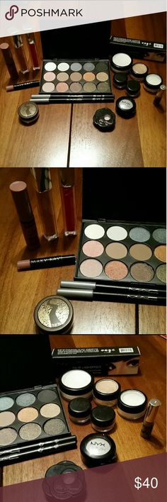Beauty Bundle~MAC~NYX~TOO FACED *ALL AUTHENTIC* Won 3 very large makeup baskets at a benefit and included items unused from my collecton ~15 Pc pallet ~MAC Mascara(black) ~2 MAC liner pencil(black) ~NYX gloss(angle food cake) ~NYX shadow(bling bling bling) ~Too Faced shadow(magic mushroom) ~Mary Kay gloss (cafe au lait) ~Bare Minerals 5/1 BB shadow  ~2 Maybelline lip gloss (luminous latte & gleaming greadine) ~NB Trans powder (lrg) ~NB Trans (sml) ~NB Bronzer  ~NB blush (Buff Apricot) ~Tarte…
