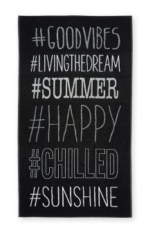 Buy Black Hashtag Beach Towel from the Next UK online shop