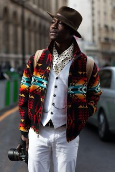 wool jacket in Aztec design