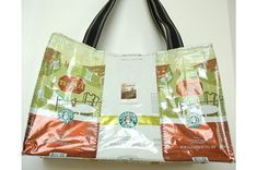 This would be super easy to make. Recycled coffee bag bag.