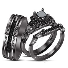 Trio Engagement Ring 925 Sterling Silver 14k Black Gold Plated Princess Cut Black Simulated Diamond. Starting at $1